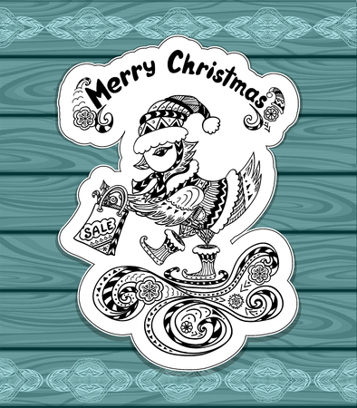 christmas bird: Christmas Bird with gift package in Zen-doodle style on blue wood or creative Post Card or for Christmas or for New Year Sale Illustration