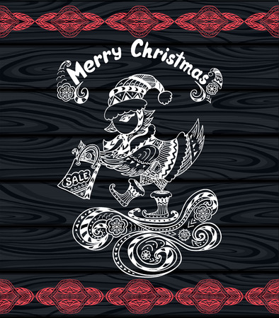christmas bird: Christmas Bird with gift package in Zen-doodle style white on black wood or creative Post Card or for Christmas or for New Year Sale
