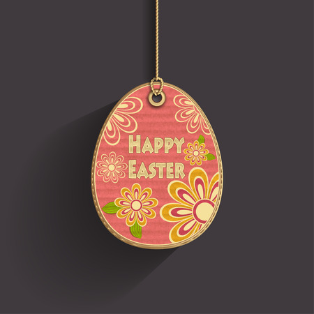 ester: Egg on cord with corrugated cardboard texture and flowers on dark background frame of celebration Easter
