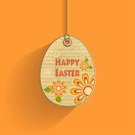 corrugated cardboard: Egg on cord with corrugated cardboard texture and flowers on orange background frame of celebration Easter Illustration