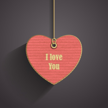 corrugated cardboard: Heart on cord with corrugated cardboard texture on dark background for frame of Valentines Day or confession of love Illustration
