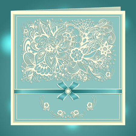 marriage invitation: Wedding invitation with Zen-doodle flowers bow ribbon rhinestones in blue colors or Creative Post Card