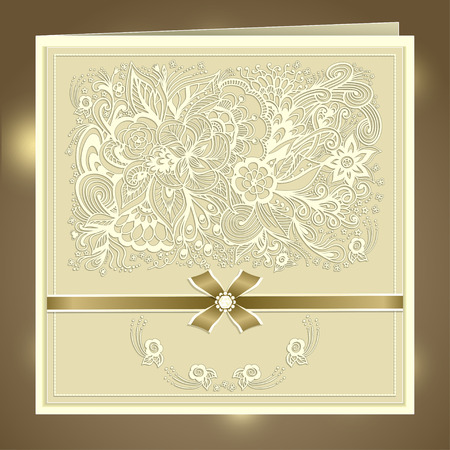 rhinestones: Wedding invitation with Zen-doodle flowers bow ribbon rhinestones in beige colors or Creative Post Card