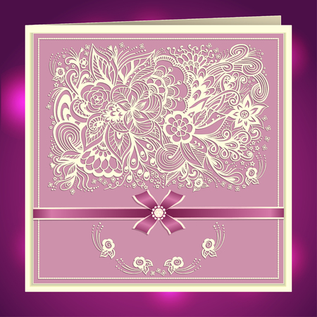 post card: Wedding invitation with Zen-doodle flowers bow ribbon rhinestones in lilac pink colors or Creative Post Card
