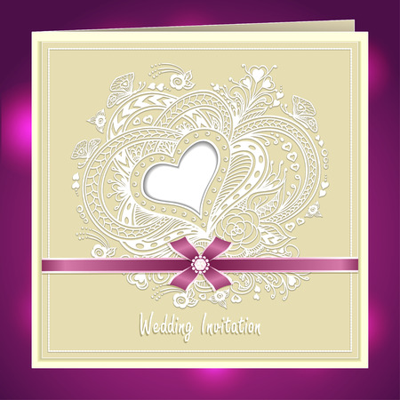 post card: Wedding invitation with Zen-doodle Heart frame flowers butterflies bow ribbon in beige colors or Creative Post Card