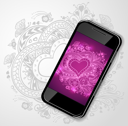 lilac flower: Mobile telephone with Zen-doodle Heart frame flowers butterflies in lilac pink for creative Post Card with Valentines Day or invitation Wedding Illustration