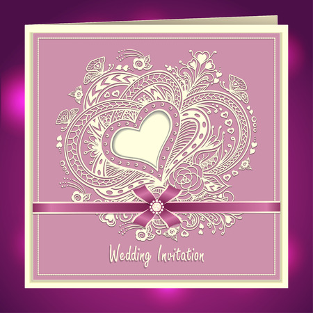 post card: Wedding invitation with Zen-doodle Heart frame flowers butterflies bow ribbon in lilac colors or Creative Post Card