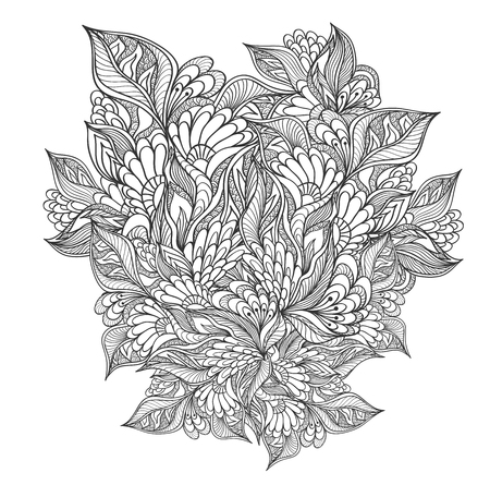 Zen-doodle floral flowers pattern or texture black on white for coloring page or relax coloring book or wallpaper background