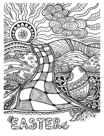 post card: Zen-doodle Easter landscape with Eggs rabbits black on white for coloring page or relax coloring book or wallpaper background or creative Post Card for celebration Easter