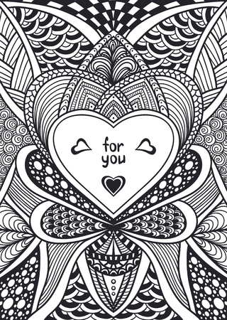Template with Zen-doodle style pattern and heart frame black on white for coloring page or relax coloring book or wallpaper background or creative Post Card for Valentines Day