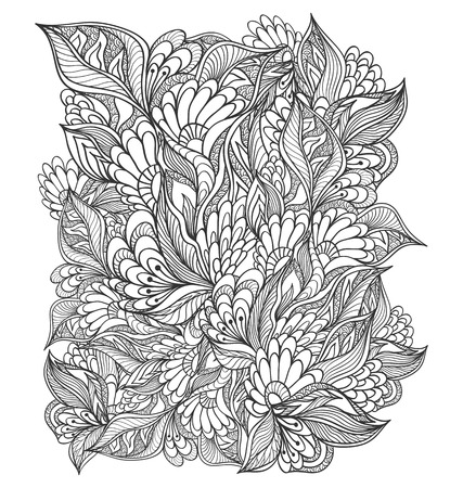 Zen Doodle Floral Flowers Pattern Or Texture Black On White For Coloring Page Relax