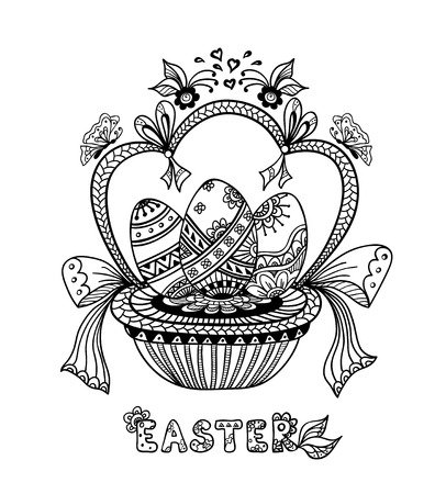 post card: Zen-doodle Easter Eggs in basket black on white for coloring page or relax coloring book or wallpaper background or creative Post Card for celebration Easter