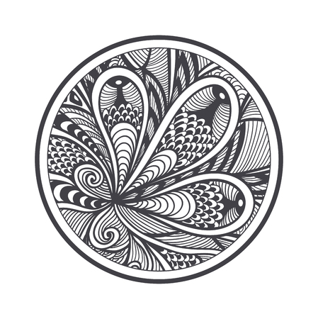 Abstract pattern or texture in Zen-tangle Zen-doodle style black on white in circle for coloring page or relax coloring book or wallpaper background or for decoration different things