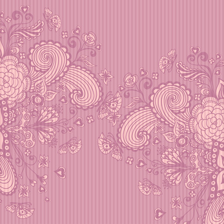 post card: Vintage background with doodle flowers butterflies hearts on pink lilac advertising or decoration different things or for package or for Post Card Illustration
