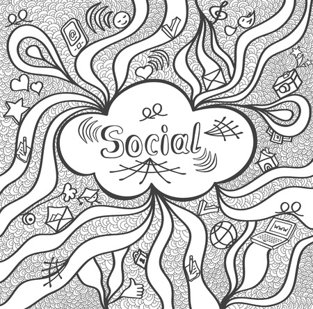 societal: Abstract social cloud in doodle style black white for website banners and other things or for coloring page or relax coloring book