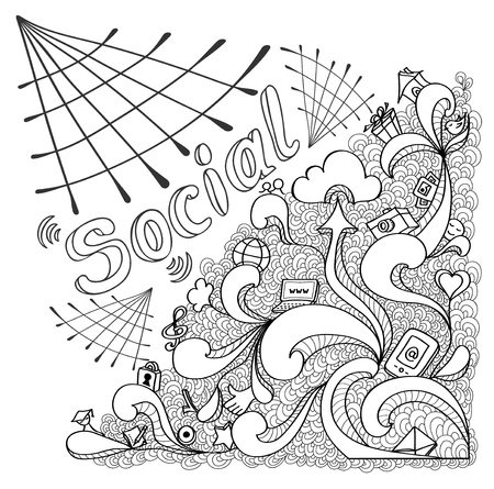 societal: Social webs in doodle style on white background for website banners