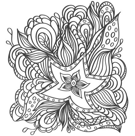 Background with doodle starfishes seaweeds or template for underwater world or for coloring page or relax coloring book 일러스트