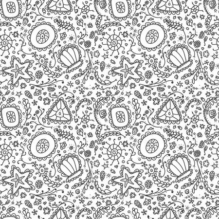 plancton: patrón transparente o de fondo con protozoos abstracta o plancton resumen en blanco y negro para colorear página del libro para colorear o relajarse Vectores