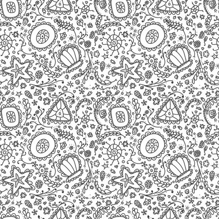 protozoa: seamless pattern or background with abstract protozoa or abstract plankton in black white for coloring page or relax coloring book