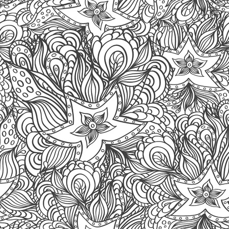 seaweeds: Seamless pattern with doodle starfishes and seaweeds in black white f