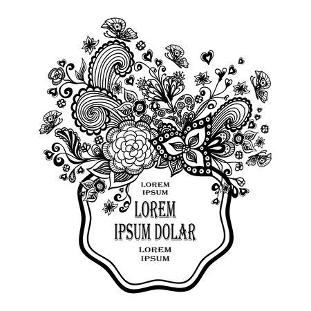 Zen-doodle Hintergrund Oder Muster Mit Blumen Schwarz Auf Weiß ...