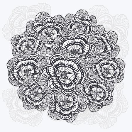 gathered: Zen-doodle flowers pattern gathered in circle black on white Illustration