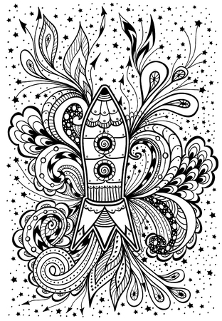 cosmonautics day: Zen-doodle racket in space black on white Illustration