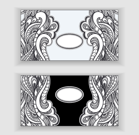 pearls and threads: Zen-doodle or Zen-tangle banners or label or frames