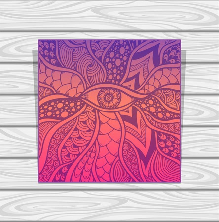 plait: Template Zen-doodle or Zen-tangle texture or pattern with eye in lilac orange pink