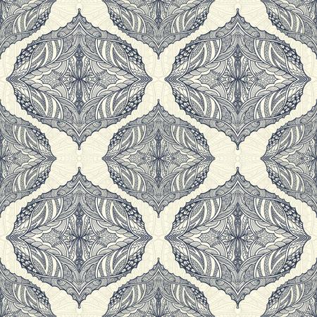 Seamless pattern in Zen-doodle style black on white Illustration