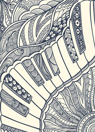 Piano toetsenbord met Zen-wirwar ornament zwart op wit