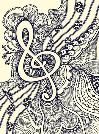 stanza: Treble clef notes musical stanza with Zen-tangle ornament black on white