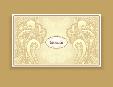 perfumer: Template vintage invitation in gold colors