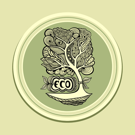 researches: Badge or icon with Zen-tangle tree in green olive