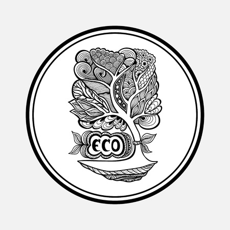 researches: Badge or icon with Zen-tangle tree black on white Illustration