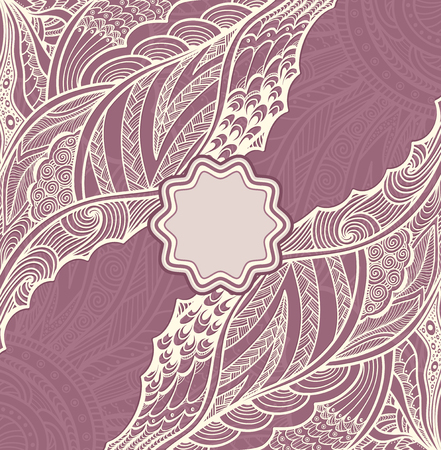 pearly: Template flyer or label with Zen-doodle pattern in pearly and lilac colors