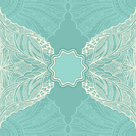 pearly: Template flyer or label with Zen-doodle pattern in pearly and blue colors