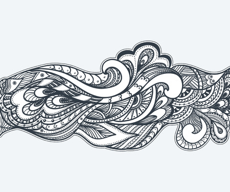 pearls and threads: Zen-doodle or Zen-tangle texture or pattern black on white Illustration