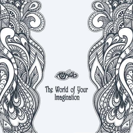 pearls and threads: Zen-doodle or Zen-tangle template black on white Illustration