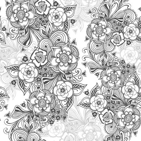 Nahtlose Abstrakte Blumenmuster Mit Blumen Blüten Blätter Samen