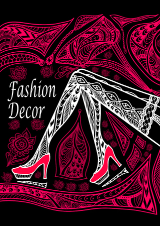 Concept fashion decoration with Zen-doodle pattern red on black