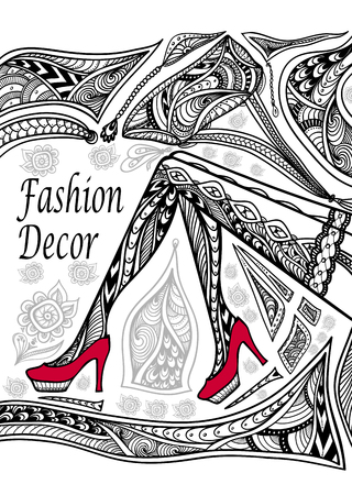 Concept fashion decoration with Zen-doodle  pattern black on white