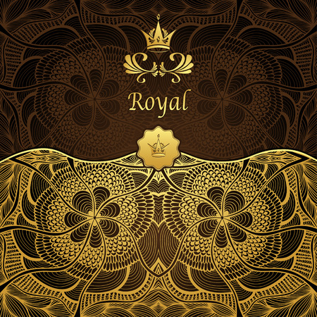gold brown: Royal template background with crown Zen-tangle pattern in gold brown Illustration