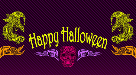 halloween flyer: Halloween Flyer or banner with witch skill colorful on black