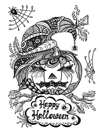 Pumpkin in hat in Zen-tangle style black on white Vectores