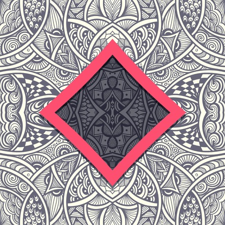 grey pattern: Template with frame and seamless Zen-doodle pattern in grey red
