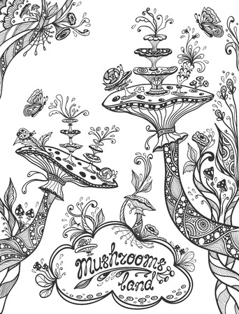 Fantasy illustration mushrooms land in Zen doodle or Zen tangle style black on white for coloring page or coloring books or template background for book cover or wallpaper Illustration