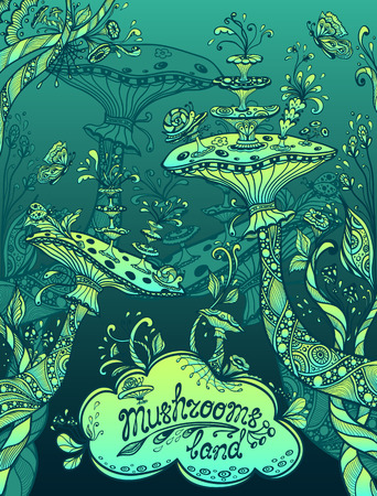 Fantasy illustration mushrooms land in Zen doodle or Zen tangle style blue marine and green for template background for book cover or computer game or wallpaper or for screen of mobile telephone Illustration