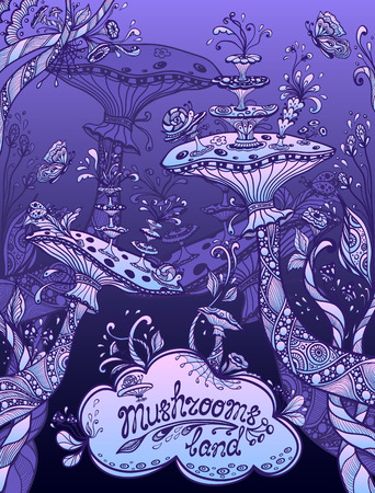 Fantasy illustration mushrooms land in Zen doodle or Zen tangle style blue lilac night for template background for book cover or computer game or wallpaper or for screen of mobile telephone Illustration