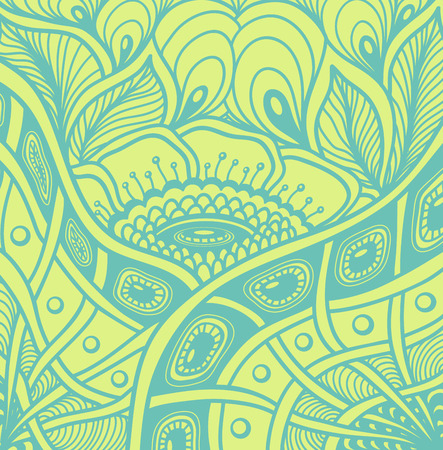 Background with Zen tangle or Zen doodle flowers pattern in green or for wallpaper or for packed something Illustration
